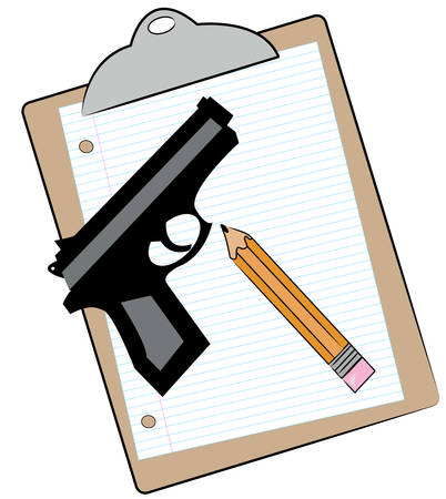 clipboard with lined paper pencil and hand gun - school supplies