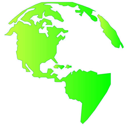landmass of north and south america in gradient green - vector  イラスト・ベクター素材