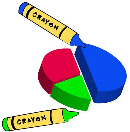 파란색 왁스 크레용 원 벡터 그래프 - 벡터 색칠 일러스트