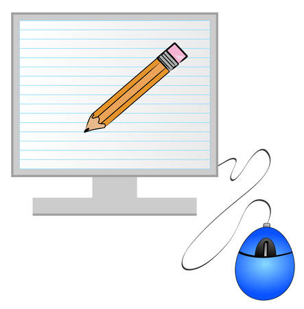 computer monitor and mouse with lined paper and pencil on screen - old versus new - vector