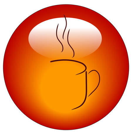 red coffee mug abstract web button or icon - vector Vectores