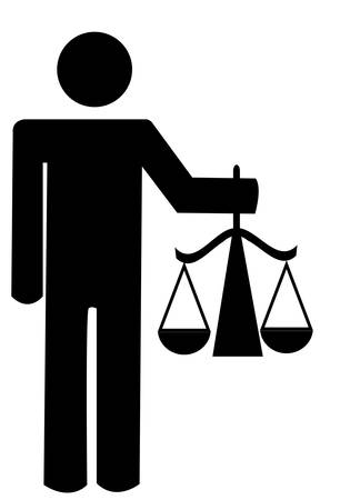stick man or figure holding up scales of justice - vector
