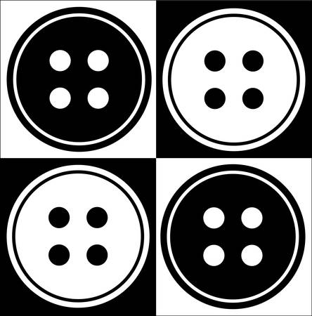 four hole button abstract in black and white - vector Ilustracja