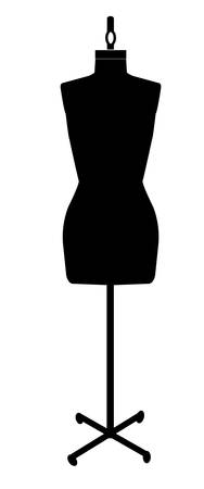 black silhouette of a dressmakers mannequin - vector Vettoriali