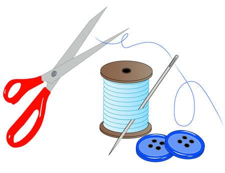 aiguille fil des ciseaux et des boutons - nécessaire de couture - vecteur Vecteurs