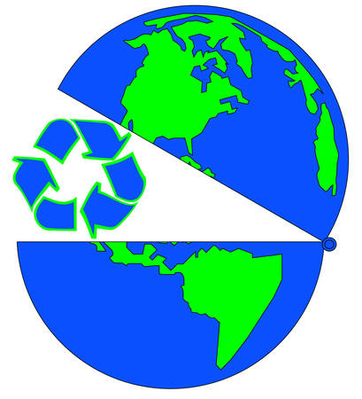 globe open to recycling - environmental vector 向量圖像