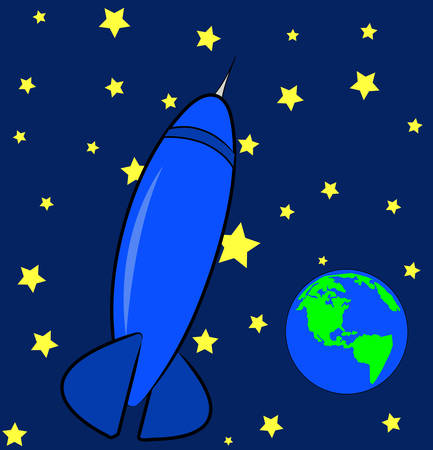 blue rocket ship in the sky with stars and earth - vector Ilustracja