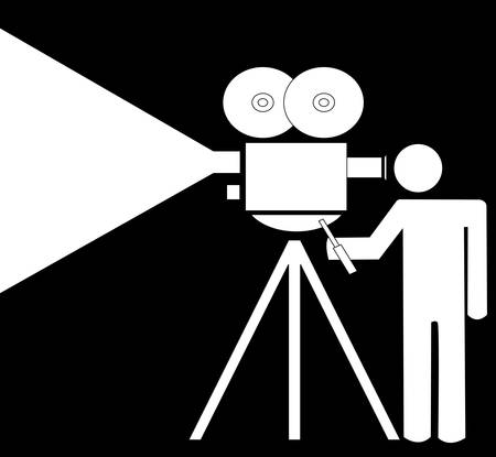stick man or figure filming with a movie camera - vector