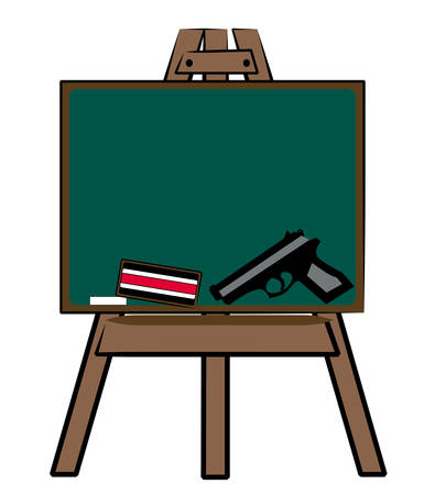chalkboard with chalk eraser and handgun - new kind of school supplies Ilustracja