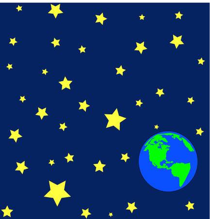 지구의 바깥 쪽 또는 궤도에있는 별 - 벡터의 만화