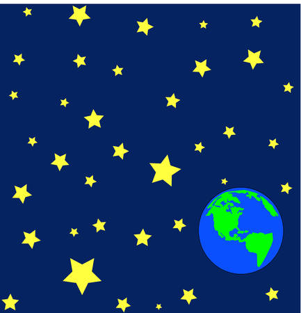 cartoon of earth in outerspace or orbit with stars - vector