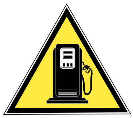 yellow triangle gas pump caution sign - vector
