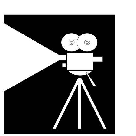 movie camera fliming on black and white - vector Vettoriali