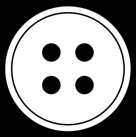 four hole button abstract in black and white - vector Illusztráció
