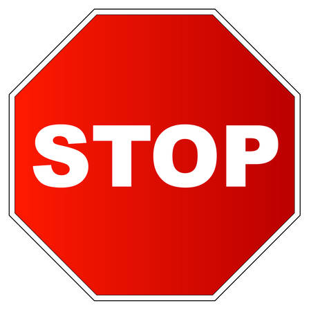 red gradient stop sign on white background - vector