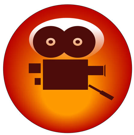 red movie camera web button or icon - vector Illustration