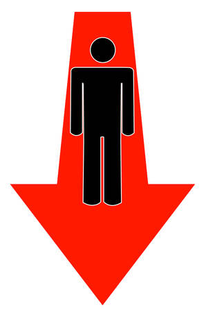stick man or figure with arrow pointing down - vector
