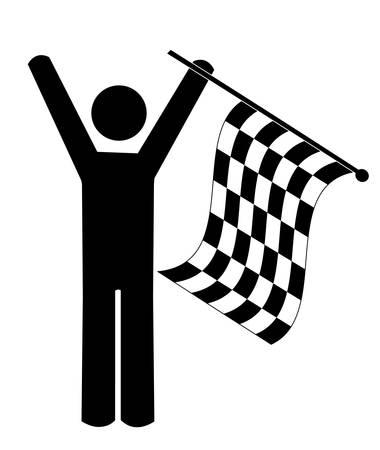 stick man or figure waving checkered flag - winner - vector