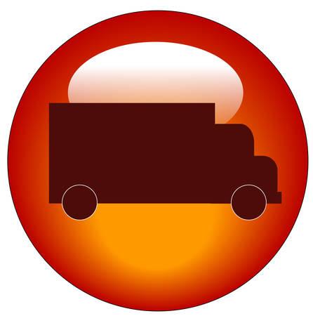 web rode knop of pictogram met een vrachtwagen op het - transport concept - vector Stock Illustratie