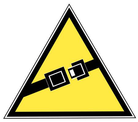 geel bord met vermelding van de veiligheidsgordel te Buckle Up - vector