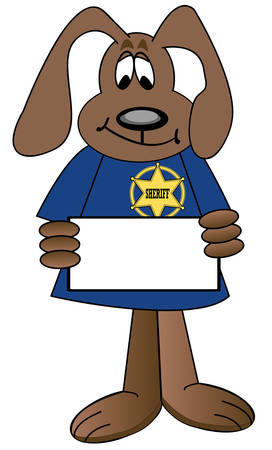 cartoon dog sheriff with badge holding blank sign - vector