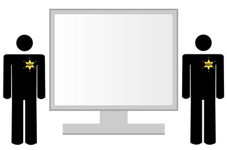 computer monitor with guards standing by as internet security - vector Stock Illustratie