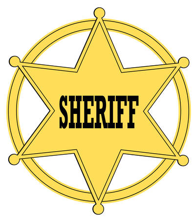 estrella de oro insignia de sheriff del viejo oeste - vector  Ilustración de vector