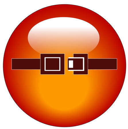 red seatbelt indicator web button or icon - vector