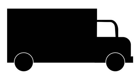 black silhouette of a delivery truck - vector illustration