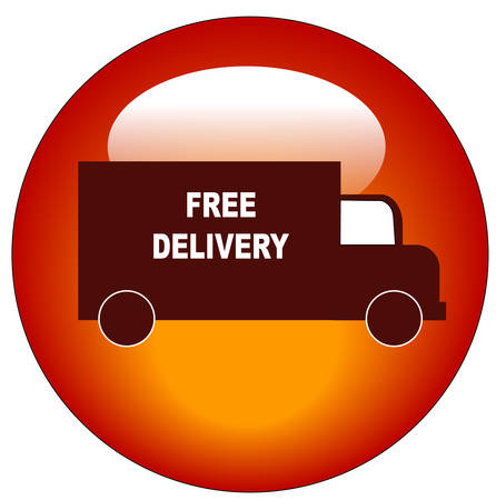 red truck delivery web button or icon - vector