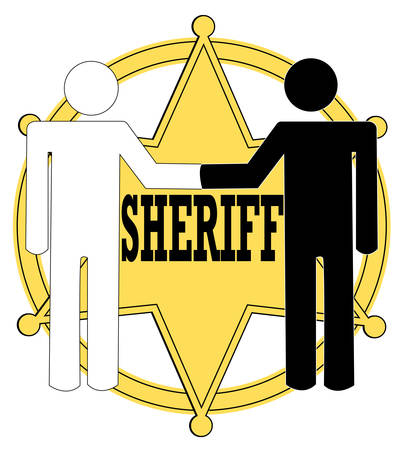 two stick figure people giving handshake with sheriff badge in background - police concept 版權商用圖片 - 3159813