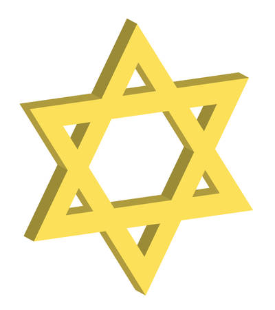 vector illustration of a three dimensional star of david