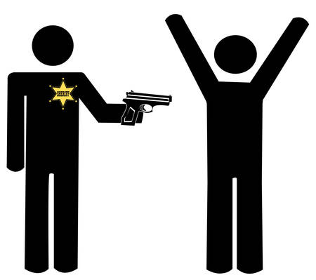 sheriff with gun holding another man at gun point - vector
