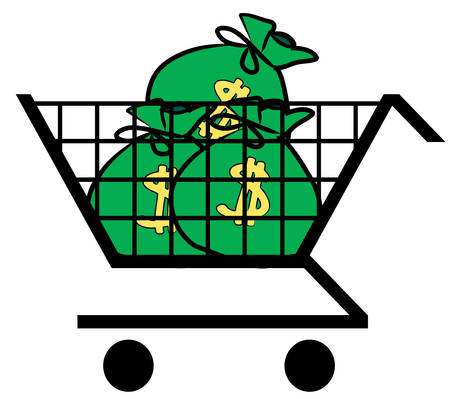 shopping cart filled with bags of money - vector