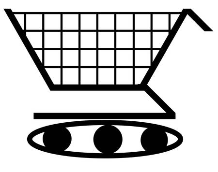 shopping cart illustration with wheels of a tank - extreme shopping concept