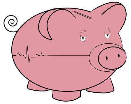 piggy bank with flatline  rhythm -  concept