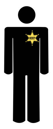 stick figure of a man wearing a sheriffs badge - vector