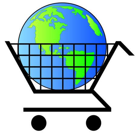 earth or globe inside shopping cart - world commerce- vector Illustration