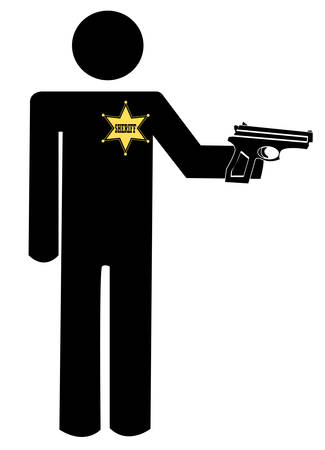 sheriff or police officer with gun drawn - vector