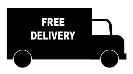 silhouette of truck with words - free delivery - vector