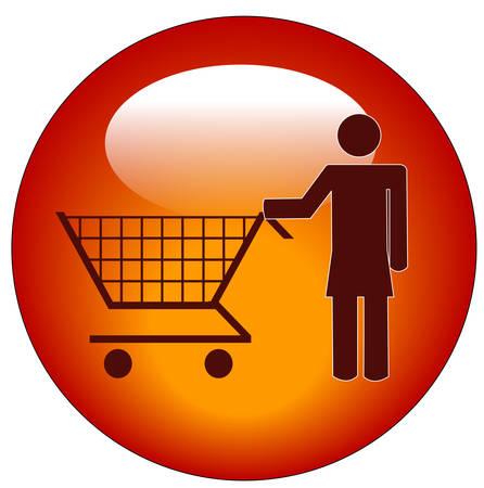 woman pushing shopping cart web button - vector