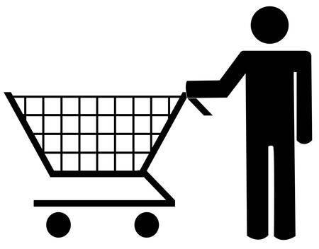 man figure pushing shopping cart - vector illustration Illustration