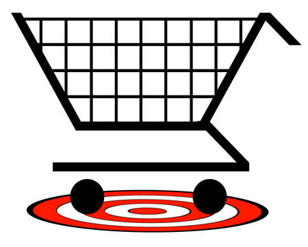 shopping cart with target underneath - retail target concept - vector