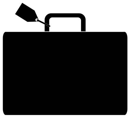 black silhouette of luggage marked with name tag - vector Vectores