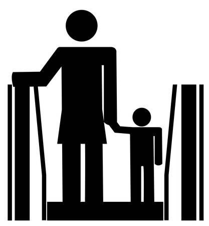 stick woman holding childs hand riding on escalator - vector