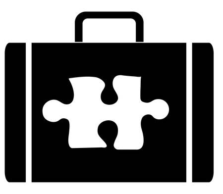 briefcase with symbol of a puzzle piece on the outside