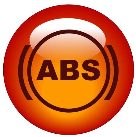 red antilock braking system or ABS symbol web button or icon