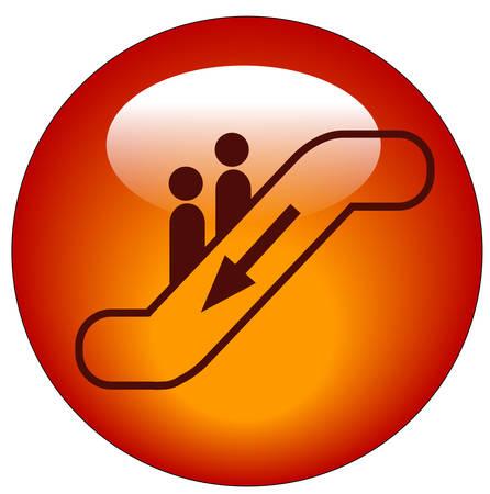 에스컬레이터 웹 버튼 또는 아이콘을 타는 사람들