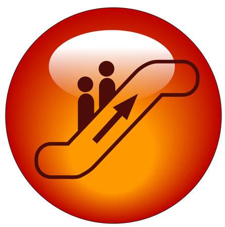 에스컬레이터 웹 버튼 또는 아이콘에 탑승하는 사람들