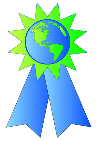 green and blue ribbon made with earth or globe in the center Illustration